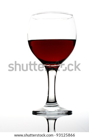 wineglass of red wine on the white background