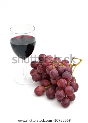 wineglass with a grape bunch isolated on white background