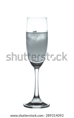 Wineglass with alcohol cocktail in black and white isolated on a white background