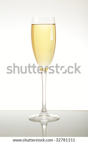 wineglass with  white wine on a white background