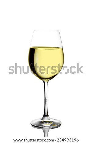 Wineglass with white wine on white background - stock photo