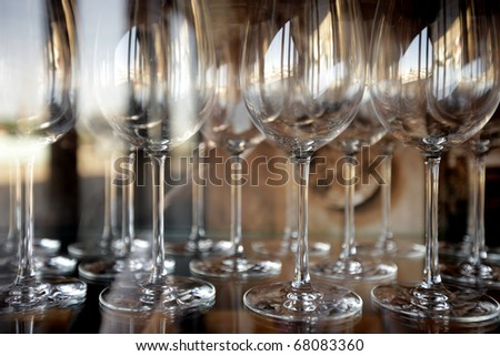 Wineglasses before fourchette clear and crystal - stock photo