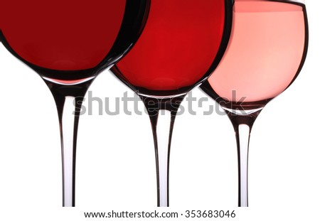 wineglasses with variety of wines, on white background