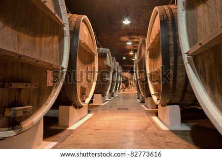Winery cellar - stock photo