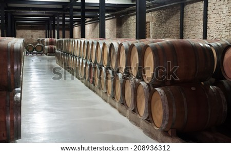 winery  with many  wooden barrels  - stock photo