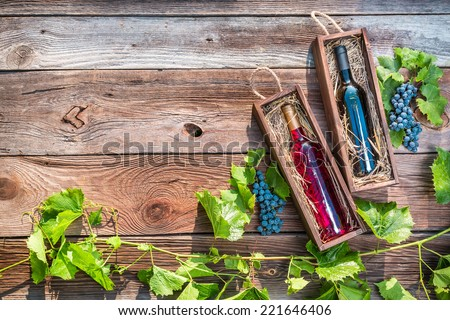 Wines in a wooden box and grapes - stock photo