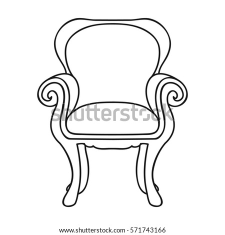 Wing Back Chair Icon In Outline Style Isolated On White Background Furniture And Home