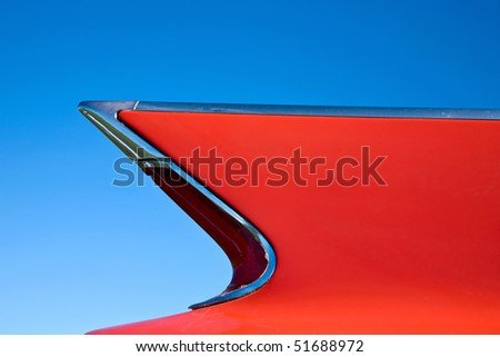 wing on a classic car - stock photo