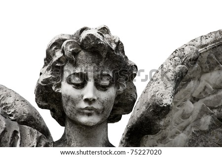 Winged angel statue isolated on white background. Clipping path included. - stock photo