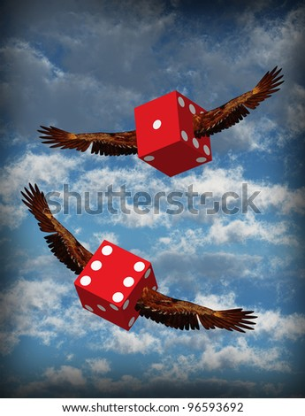 Winged Dice - stock photo