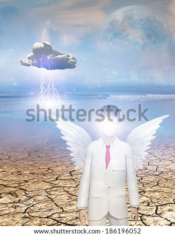 Winged figure with obscured face in surreal landscape - stock photo