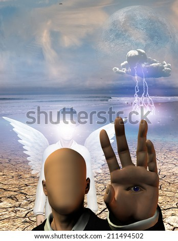 Winged figure with obscured face stands behind faceless figure in surreal landscape - stock photo