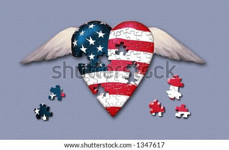 Winged puzzle piece heart - stock photo