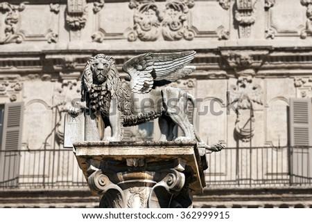 Winged St Mark Lion Verona Italy Stock Photo Royalty Free