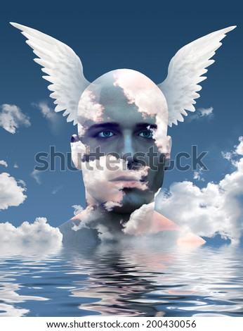 Wings and clouds upon head - stock photo