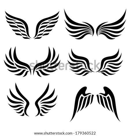 wings set. Raster. - stock photo