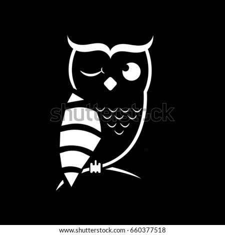 Winking Owl Vector Format Owl Symbol Stock Illustration 660377518