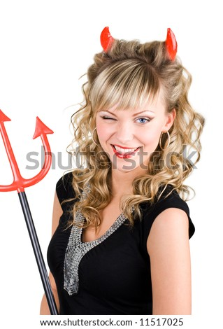 Winking young sexy devil woman with red trident - stock photo
