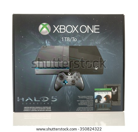 Winneconne, WI - 13 Dec 2015: Box of the XBOX ONE gaming console made featuring the Halo 5 edition. - stock photo