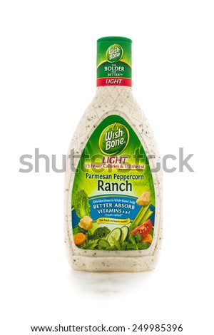 Winneconne, WI - 4February 2015: Bottle of Wishbone Light Parmesan Peppercorn Ranch salad dressing created in 1945 and is located in Parsippany, NJ. - stock photo
