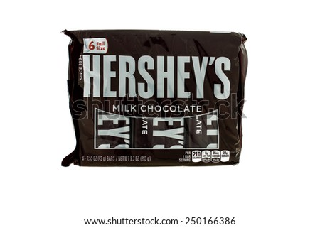 Winneconne, WI - 5  February 2015: Package of Hershey's Milk Chocolate candy bar's.  Hershey was founded in 1894.