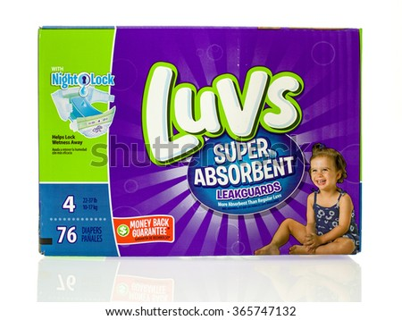 Winneconne, WI - 20 Jan 2016:  Box of Luvs diapers that are super absorbent.