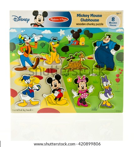 Winneconne, WI - 15 May 2016: Package of a Disney Mickey Mouse clubhouse puzzle on an isolated background - stock photo