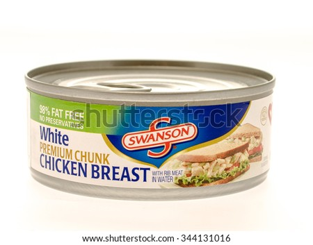 Winneconne, WI - 26 Nov 2015: Can of white chicken breast made by Swanson.