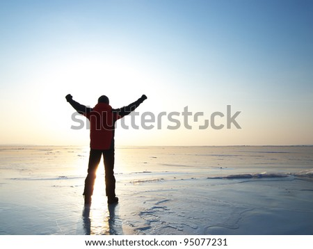 Winner and sunshine. Bright sky and ice - stock photo