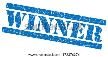 Winner blue grunge stamp - stock photo