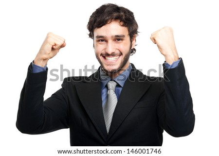 Winner businessman - stock photo