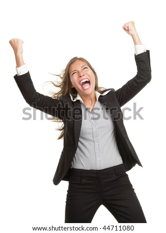 Winner businesswoman with success. Beautiful young mixed race chinese / caucasian woman in suit cheering vere happy excited. Isolated on white background. - stock photo