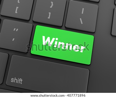winner button on the keyboard key close-up, 3d rendering - stock photo