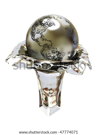 Winner cup, champion. Earth. - stock photo