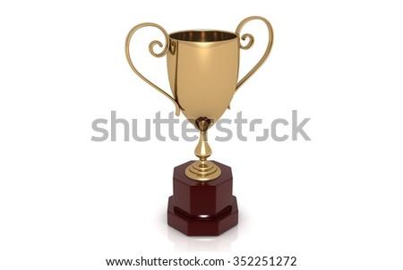 Winner cup. High resolution. 3D render - stock photo