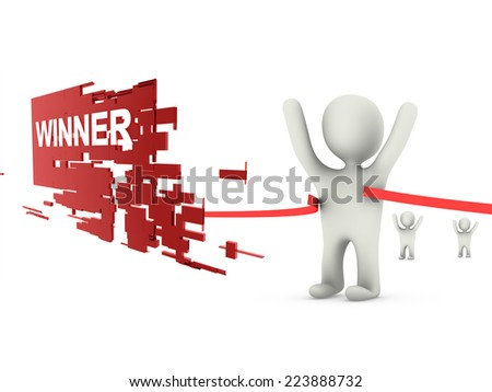 winner 3d person  - stock photo
