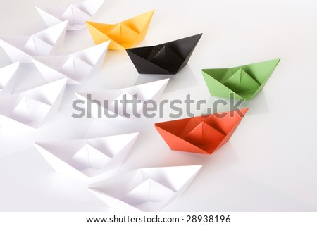 Winner green paper boat - stock photo