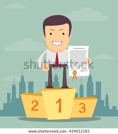winner man. Stock illustration. - stock photo