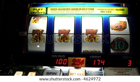 winner on a slot machine - stock photo