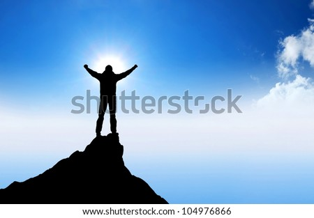 Winner on mountain top. Sport and active life - stock photo