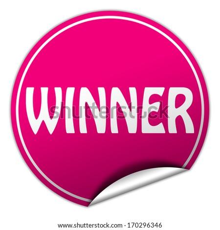 winner pink round sticker on white background - stock photo
