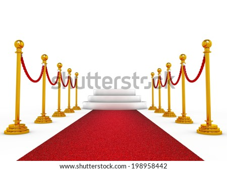 Winner podium with red carpet and golden stands