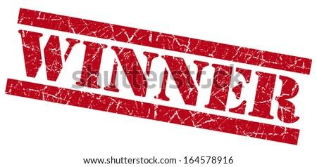 Winner red grunge stamp - stock photo
