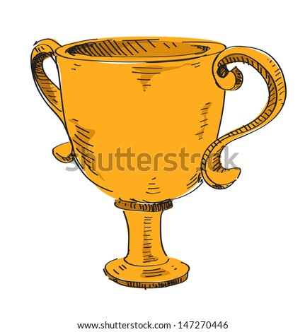 Winner trophy goblet. First place golden award - stock photo