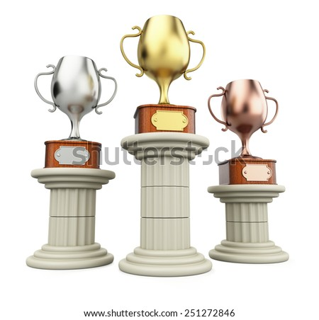 Winners cups on columns isolated on white background. 3d render - stock photo