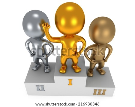 Winners on sports podium for the first, second and third place isolated on white. Stylized metal people raise hands up - stock photo
