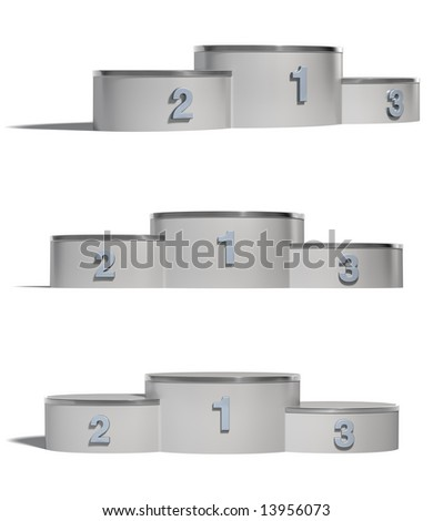 Winners Podiums isolated on White Background. Clipping paths - stock photo