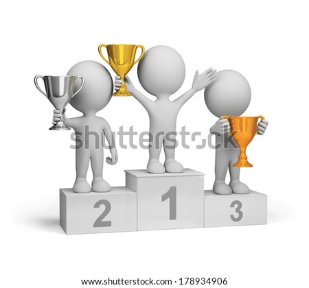 Winners with awards at the podium. 3d image. White background. - stock photo