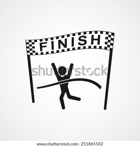 Winning Athlete crosses the finish line. Sport symbol or business concept  - stock photo