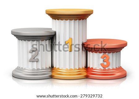 Winning, business competition and leadership, award ceremony and success and achievement concept: pedestal with first, second and third place with gold, silver and bronze numbers isolated on white - stock photo